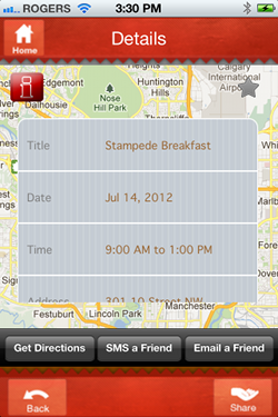 Free Stampede Pancakes iPhone App - Search for Stampede Pancake Breakfasts